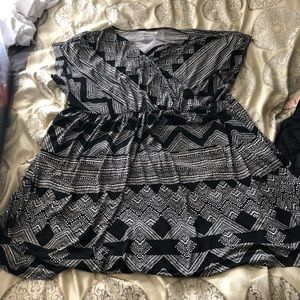 Maurice's black and white faux wrap dress